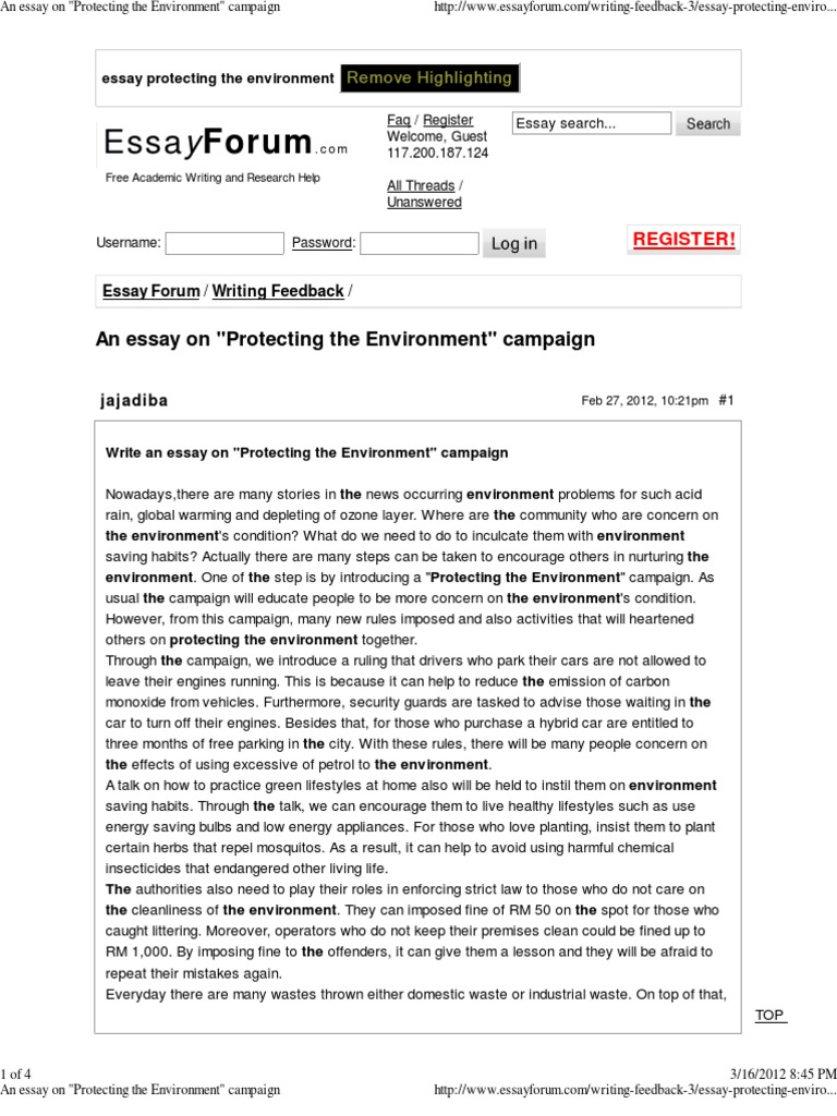 Business Essay Topics An Essay On Protecting The Environment Campaign  Natural Environment   Recycling Good High School Essay Topics also Graduating From High School Essay An Essay On Protecting The Environment Campaign  Natural  How To Write An Essay Thesis