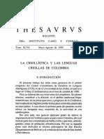 La criollística y las lenguas criollas de Colombia