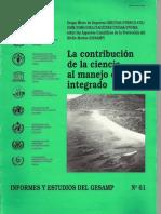 La Contrubucion de La Ciencia Al Manejo Costero Integrado (Informe y Estudios Del Gesamp)