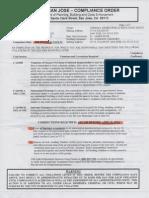 City of San Jose Compliance Order