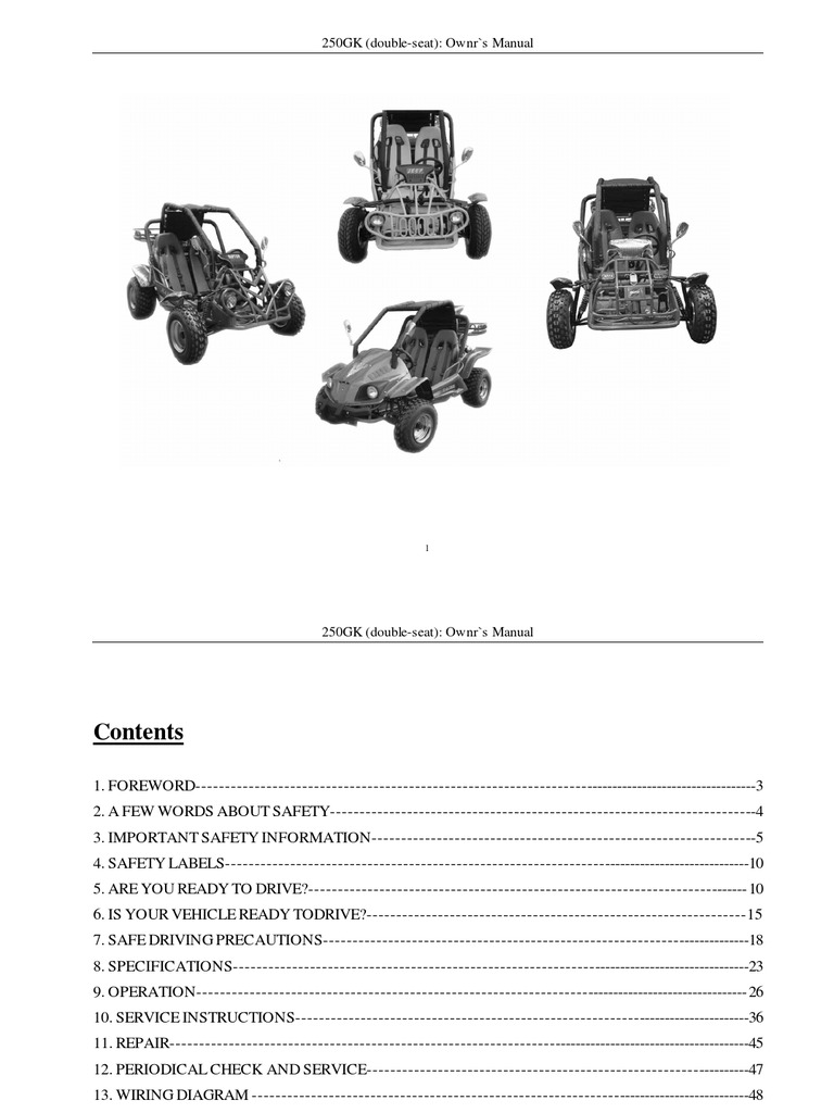 9-Kinroad XT250GK Sahara 250cc Owners Manual | Automatic Transmission |  Clutch