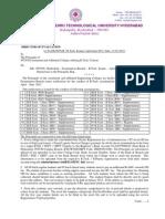 JNTUH B.tech Exams - April June 2012 Notification