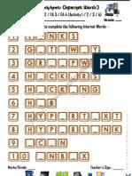 Computer Worksheets - Missing Vowels 6 (Internet Words)