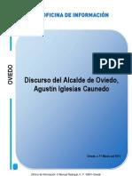 Intervención de Agustín Iglesias Caunedo, Alcalde de Oviedo. Acto central de campaña 2012