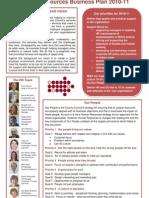 HR Business Plan 2010 - 2011