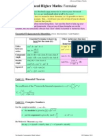 Advanced Higher Maths Formulae