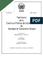 Testimonio de Escritura de Constitución de Sociedad en Comandita Simple