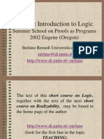 Berardi A Short Introduction to Logic Summer Course Eugene 2002