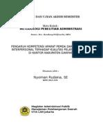 RISET DESAIN-PENGARUH KOMPETENSI APARATUR PEMDA DAN KOMUNIKASI INTERPERSONAL TERHADAP KUALITAS PELAYANAN PUBLIK DI KANTOR KABUPATEN GIANAR