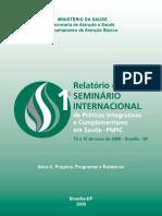 relatorio do 1º Seminário Internacional de Práticas Integrativas e Complementares