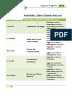 Programa de Actividades Distrito Cipreses Año 2012