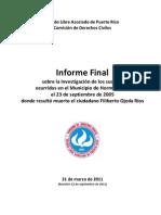 Informe final sobre asesinato Filiberto Ojeda Ríos