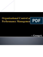 Organizational Control and Performance Management Systems