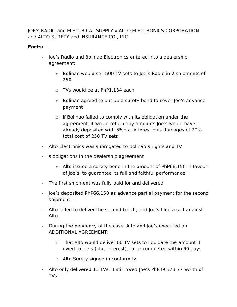EVIDENCE_Joes Radio v Alto Electronics | Surety Bond | Guarantee