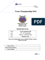 Tag Team Championship 2012 Registration Form