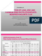 Adsorption of Lead, Zinc and Cadmium Ions