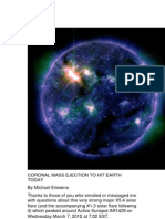 Coronal Mass Ejection to Hit Earth Today
