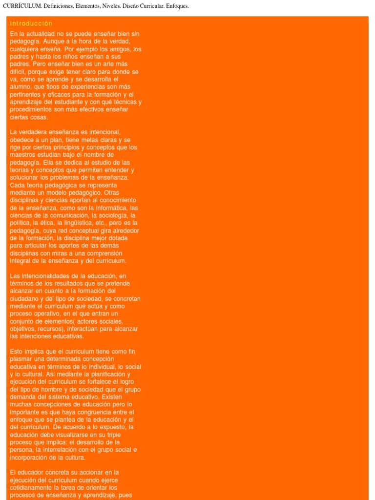 CURRÍCULUM. Definiciones, Elementos, Niveles. Diseño Curricular ...