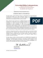 Comunicado de La Decanatura UBL a Los Estudiantes