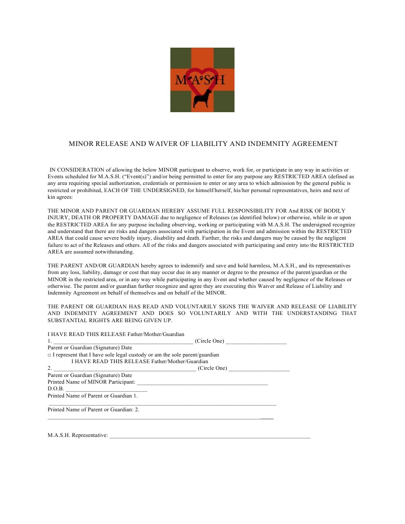 Final Minor Release And Waiver Of Liability And Indemnit