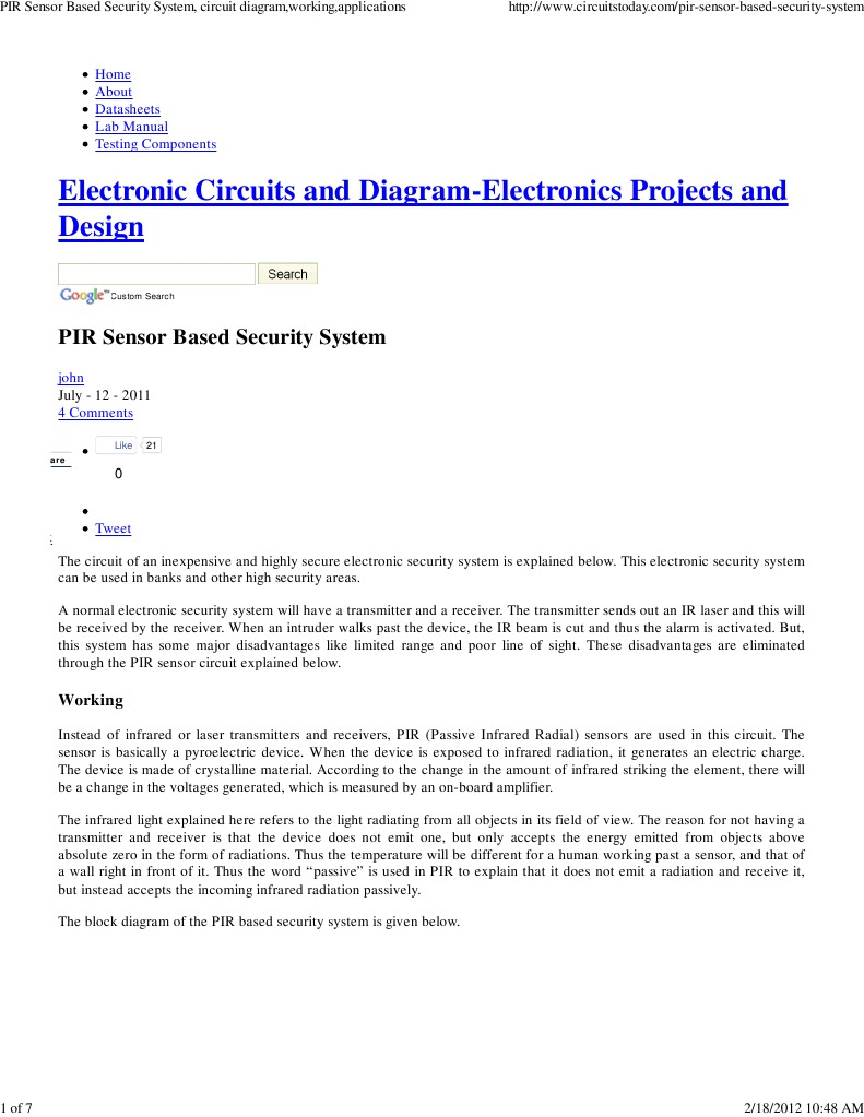Circuitstodaycomburglar Alarm Circuit Diagram Wiring Home Electronics Projects Pir Sensor Based Security System Diagramworking