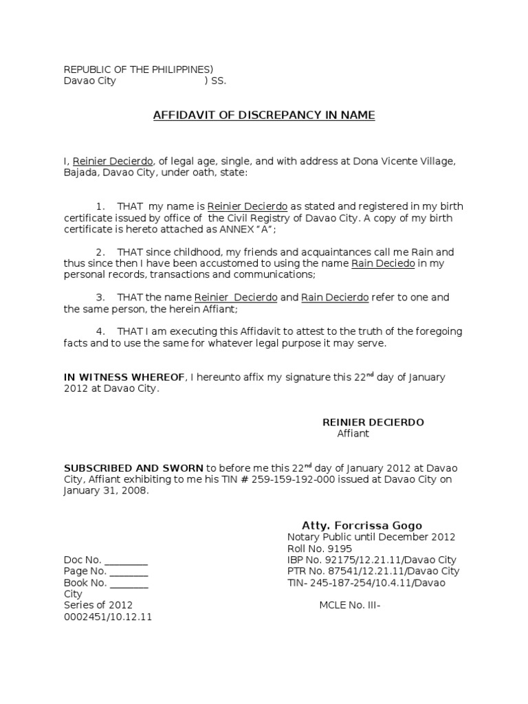 Affidavit Of Discrepancy In Name