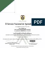 Certificado Sena Fundamentacion de Ensamblaje y Matenimiento de Pc Para Los Procesos de Soporte Tecnico