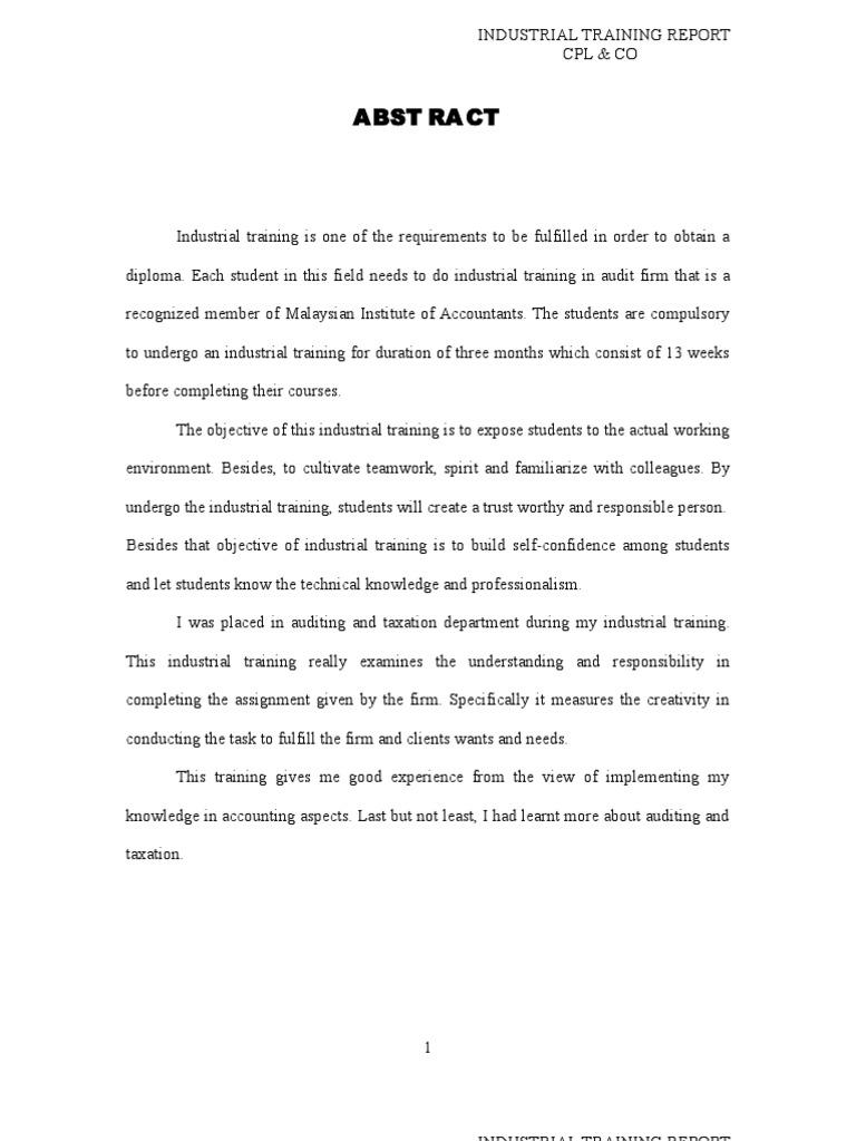 internship report on auditing
