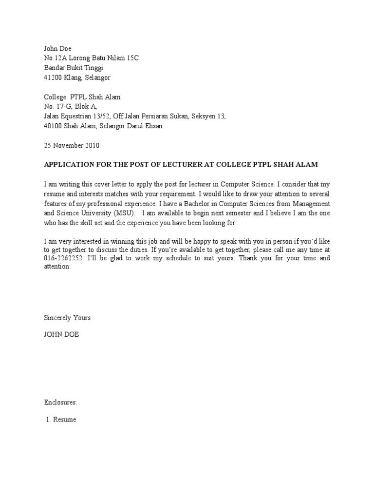 contoh cover letter dan resume