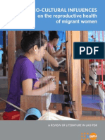 Socio-Cultural Influences on the Reproductive Health of Migrant Women (A Review of Literature in Lao PDR)