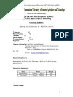 Educational Planning (ART 102) K