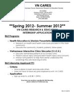 R&E Internship App Spring 2012-Summer 2012