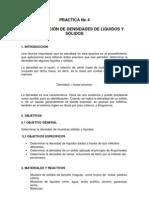 PRACTICA No 3  DETERMINACION DE DENSIDADES DE LIQUIDOS Y SÓLIDOS