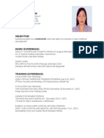 Resume for Caregiver