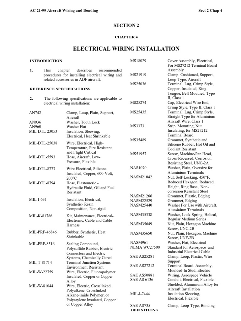 Ac21 99 Aircraft Wiring And Bonding Electrical Wiring