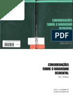 Considerações sobre o marxismo ocidental. Perry Anderson