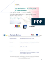 Intentions de vote Présidentielle 2012 V13 - 20/3/2012
