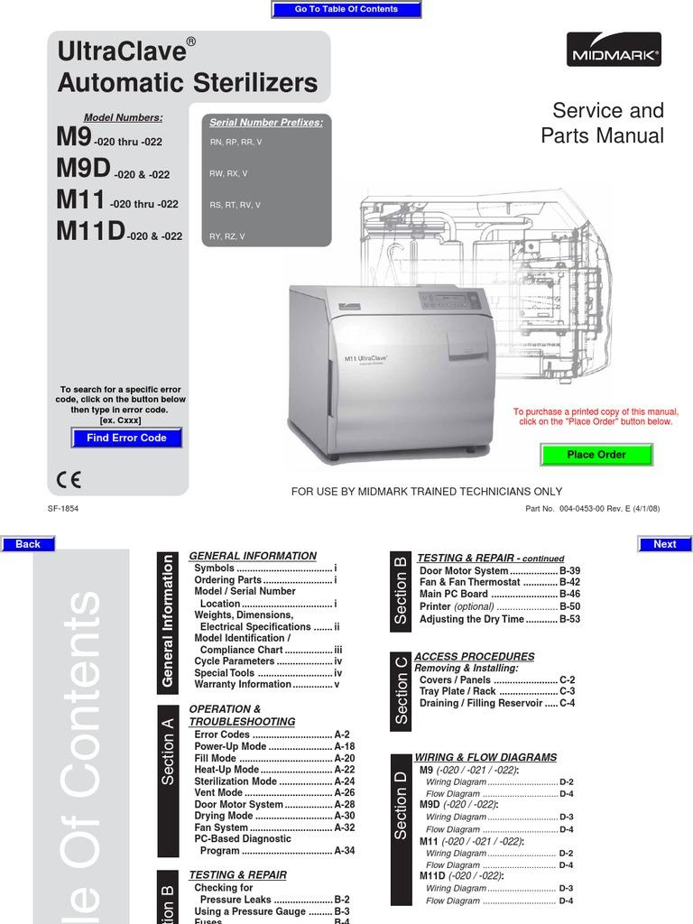 m9 sterilizer autoclave user manual thermostat troubleshooting rh scribd com midmark m9 ultraclave owners manual midmark ritter m9 service manual