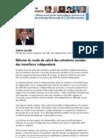 SABINELARUELLE_calcul cotisations sociales travailleurs indépendants