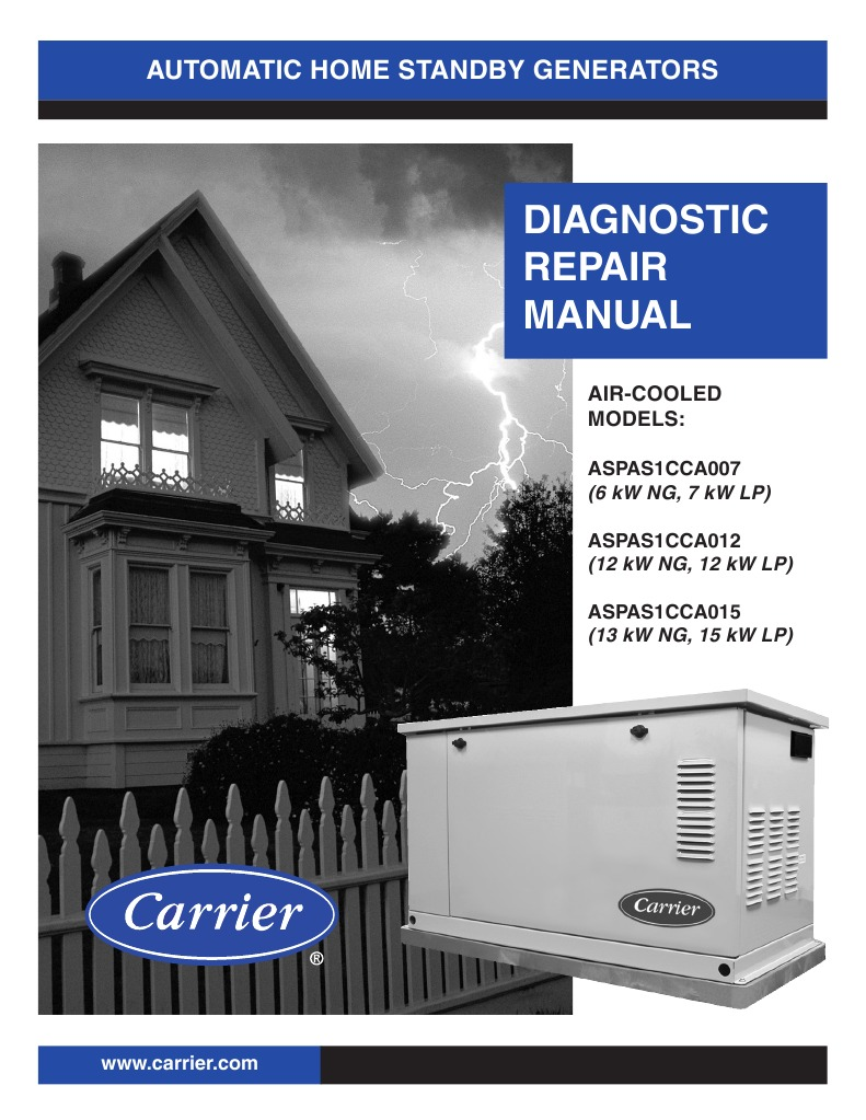 Carrier Generator Diagnostic Repair Manual Aspas07 1dm Electric Blowing 3 Amp Fuse Current Relay