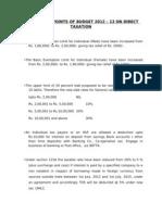 Plus & Minus of Budget 2012