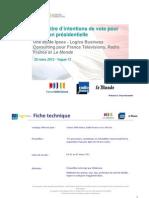 Sondage - Intention de vote à l'élection présidentielle 2012