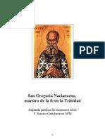 San Gregorio Nacianceno Maestro de La Fe en La Trinidad. P. Raniero a OFM