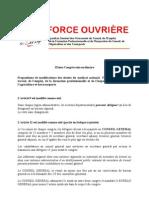 Propositions de Modifications Des Statuts Du Syndicat National FO Travail