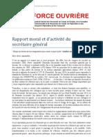 Rapport Moral Et Dactivite - Congres FO Travail 26 Mars 2012