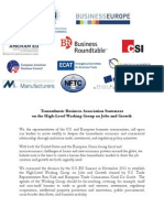 Transatlantic Business Associations Statement on the HLWG