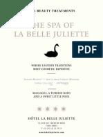 Treatments Menu Spa BelleJuliette