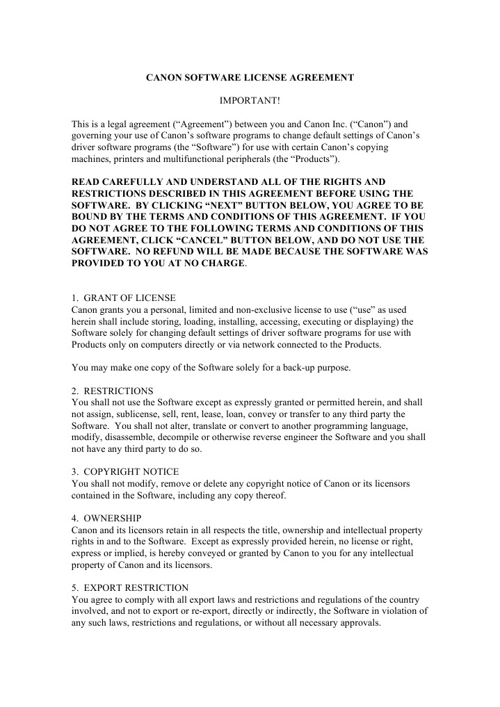 Canon Software License Agreement Us License Implied Warranty