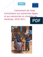 A study of humanitarian financing for older people and people with disabilties, 2010-2011 (French)