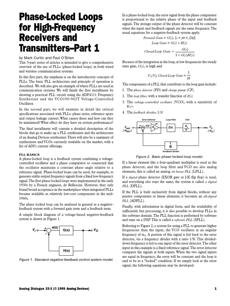 Pll Design Part 1 Detector Radio Electronic Engineering Phase Locked Loop Operating Principle With Block Diagram Showing